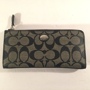 Coach black and grey accordion zip around wallet